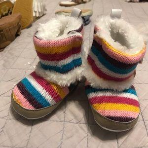Rainbow knit boots
